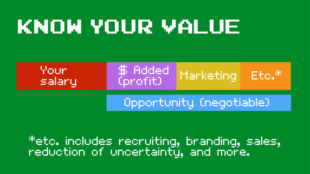 Know your value Your salary $ Added (profit) Ma...