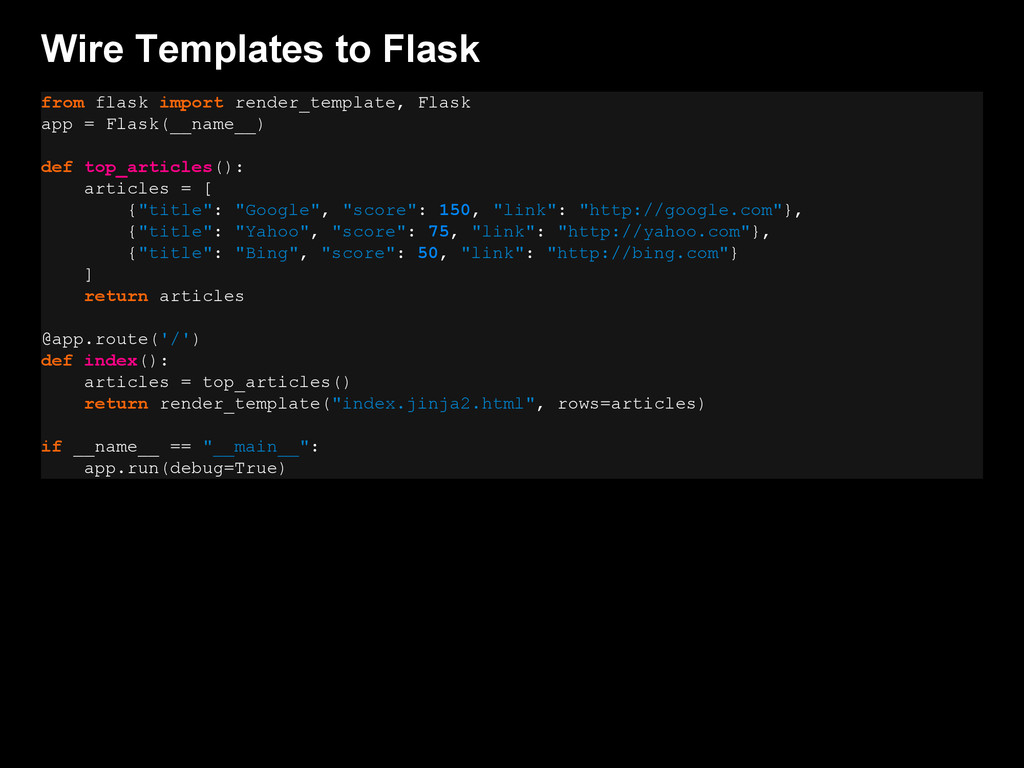 Wire Templates to Flask from flask import rende...