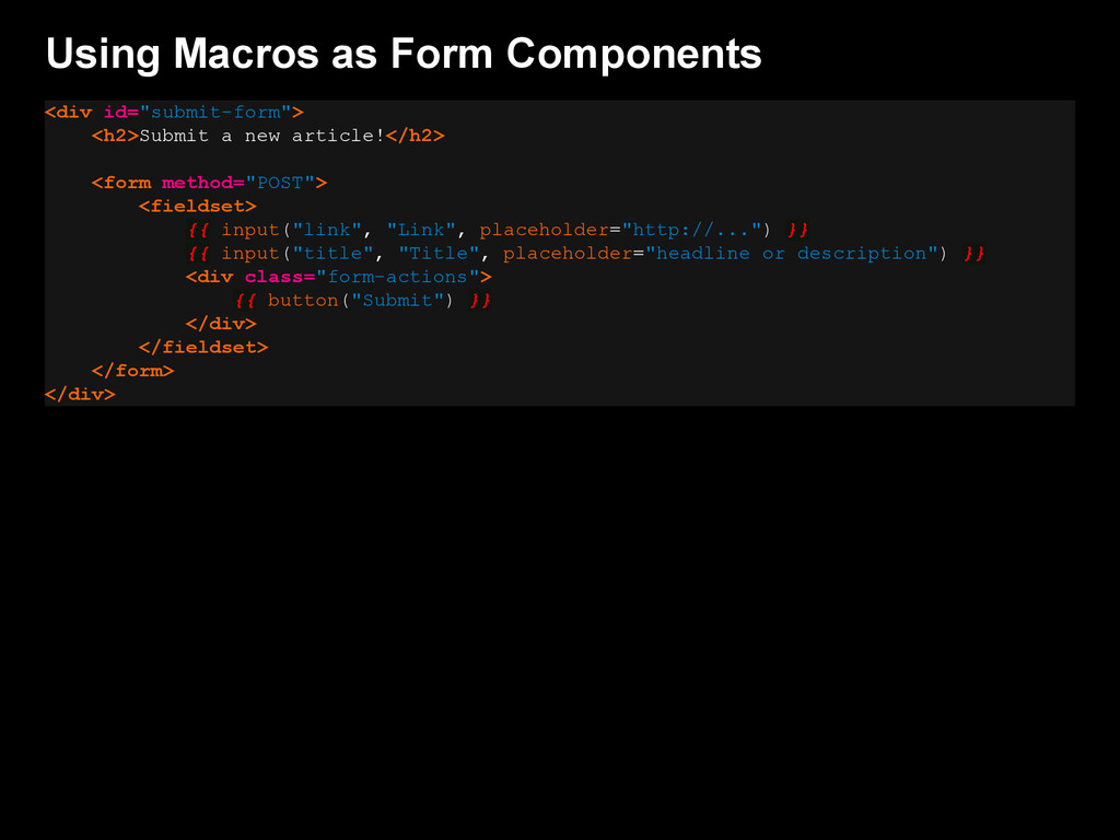 """Using Macros as Form Components <div id=""""submit..."""