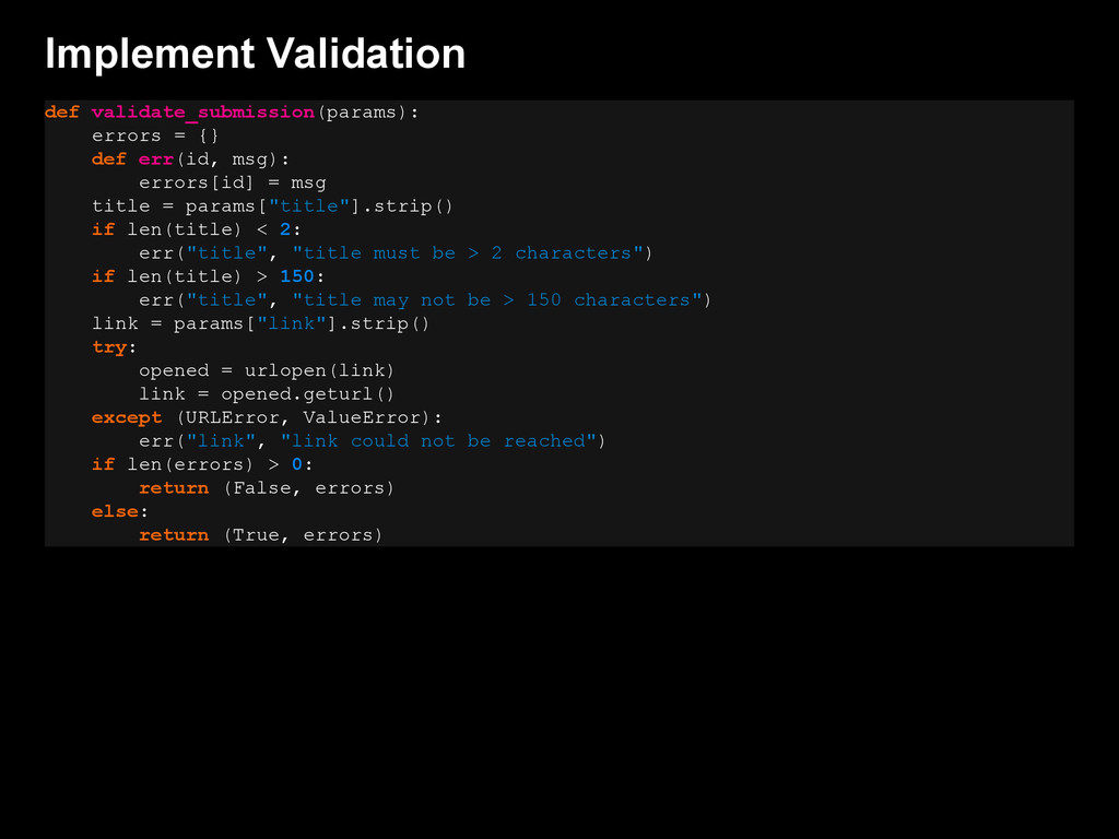 Implement Validation def validate_submission(pa...