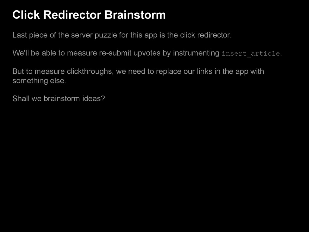 Click Redirector Brainstorm Last piece of the s...