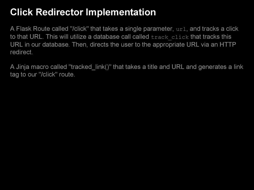 Click Redirector Implementation A Flask Route c...
