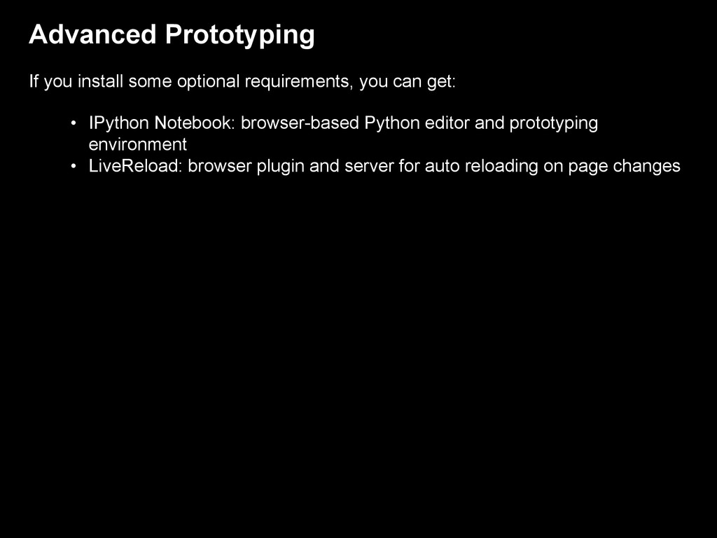 Advanced Prototyping If you install some option...