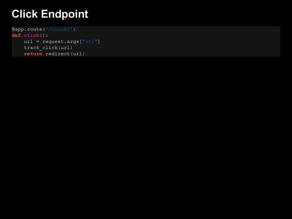 Click Endpoint @app.route('/click/') def click(...