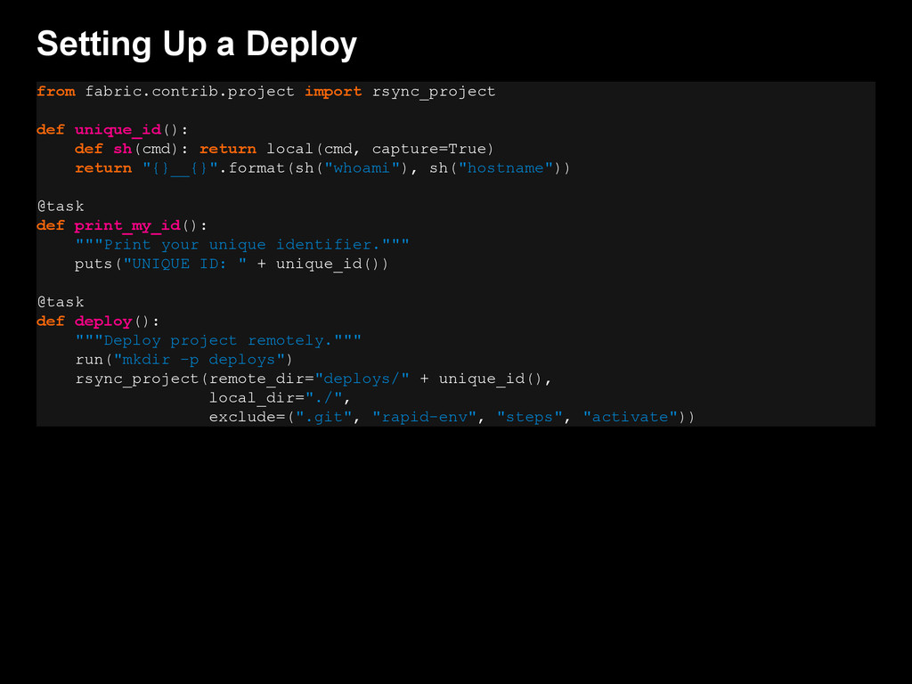 Setting Up a Deploy from fabric.contrib.project...