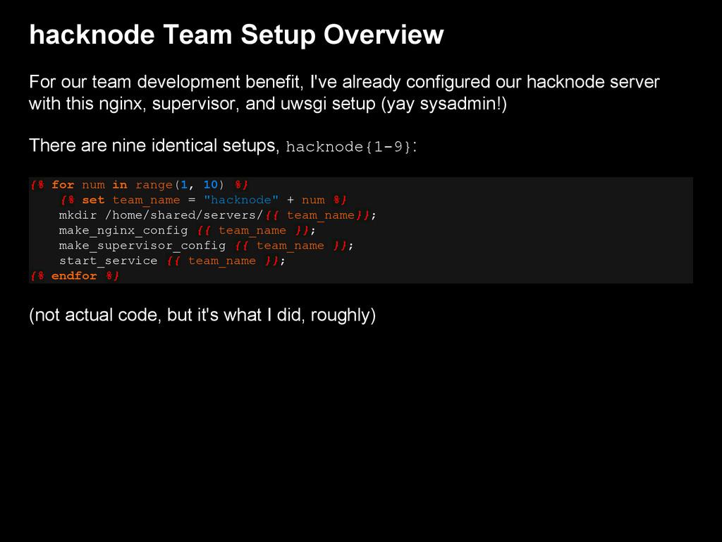 hacknode Team Setup Overview For our team devel...