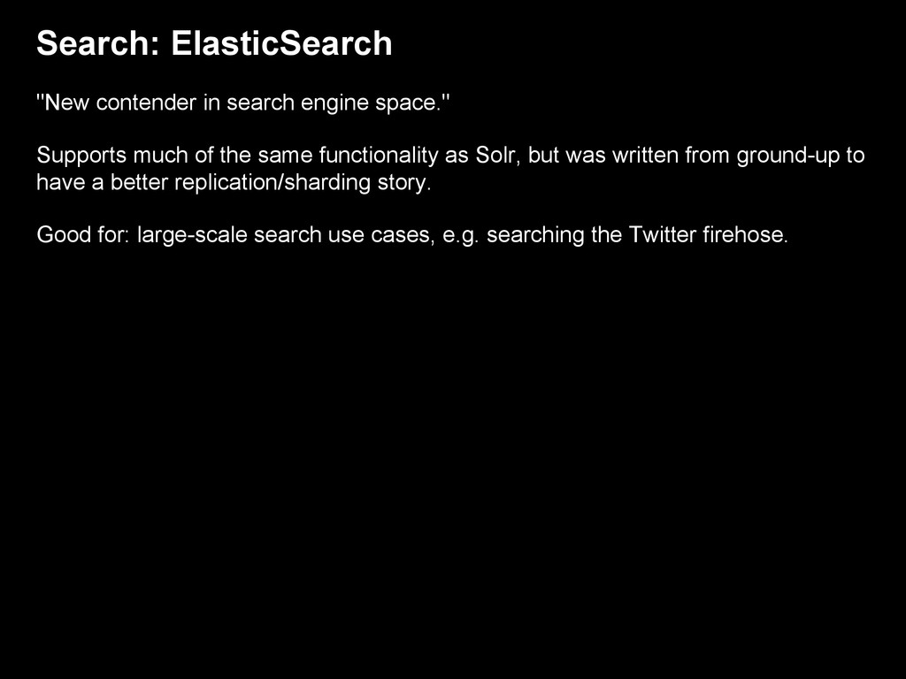 """Search: ElasticSearch """"New contender in search ..."""