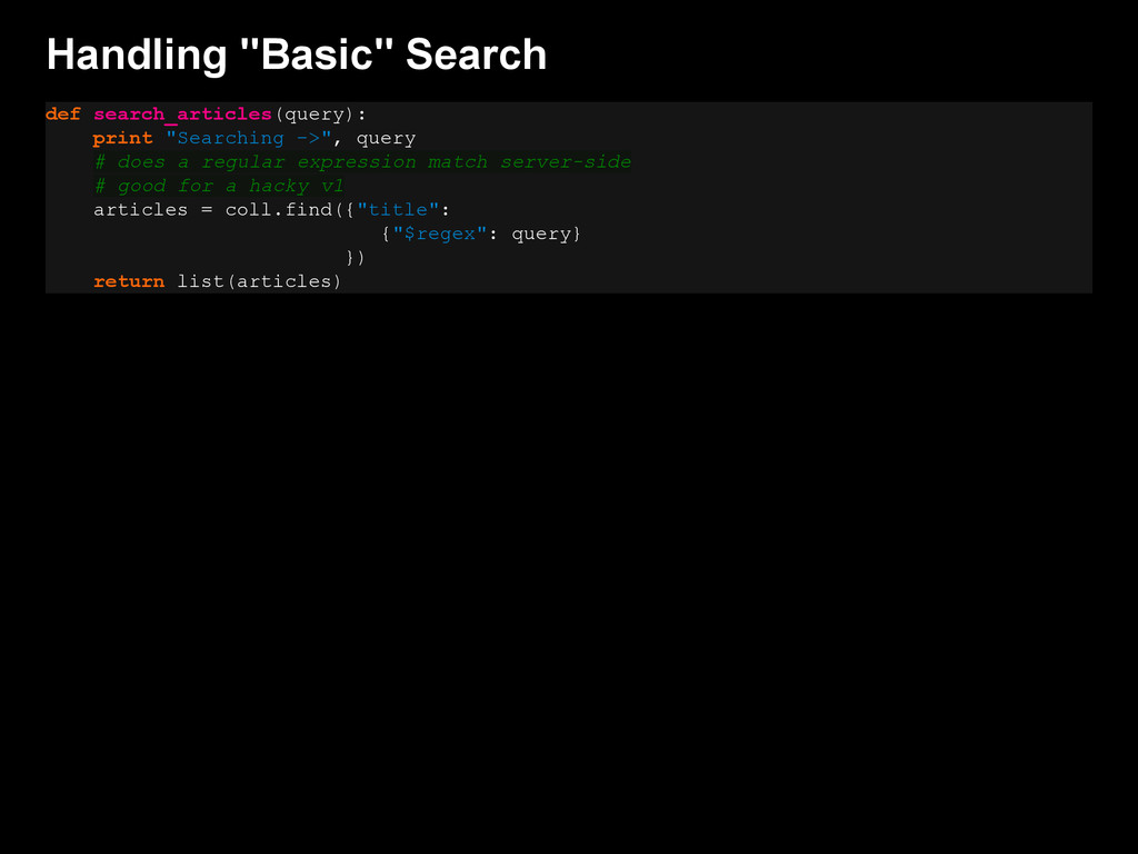 """Handling """"Basic"""" Search def search_articles(que..."""