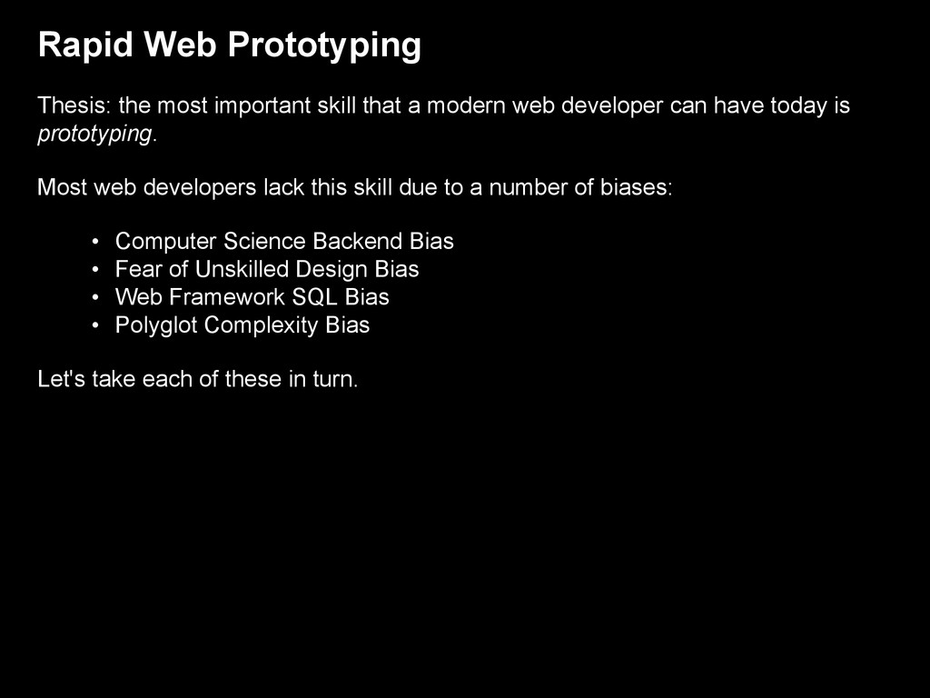 Rapid Web Prototyping Thesis: the most importan...
