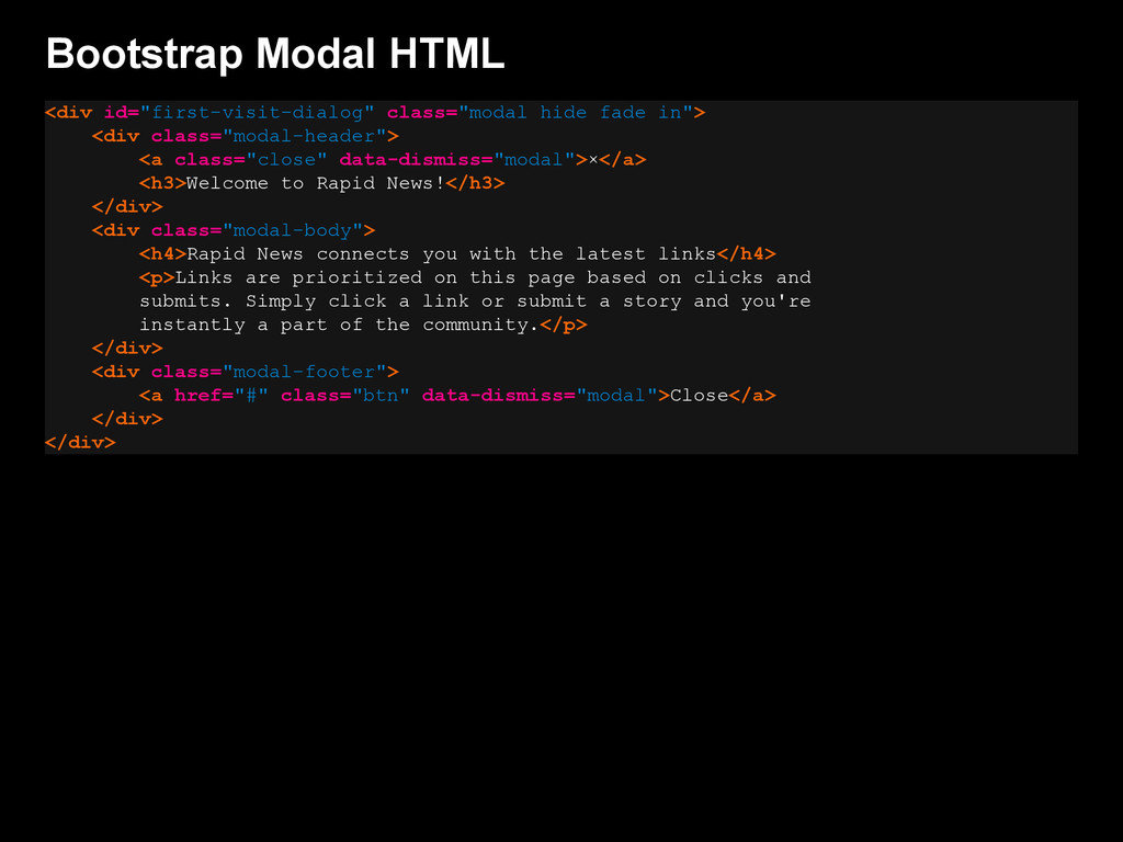 """Bootstrap Modal HTML <div id=""""first-visit-dialo..."""