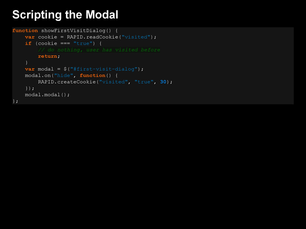 Scripting the Modal function showFirstVisitDial...