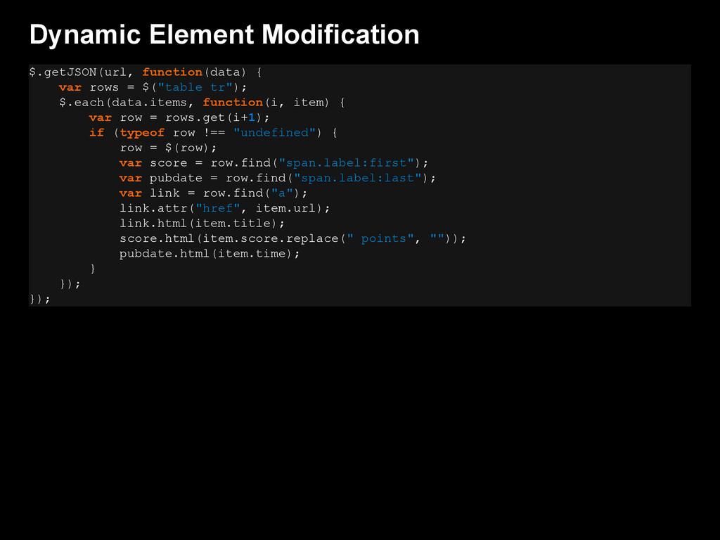 Dynamic Element Modification $.getJSON(url, fun...