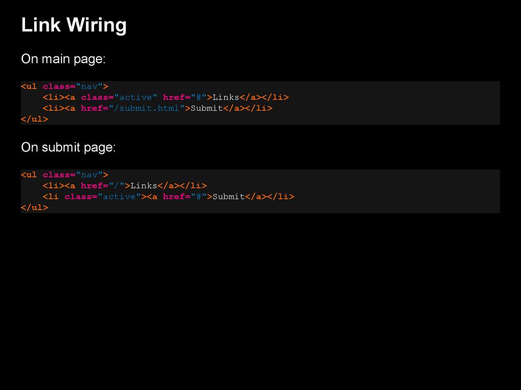 "Link Wiring On main page: <ul class=""nav""> <li>..."
