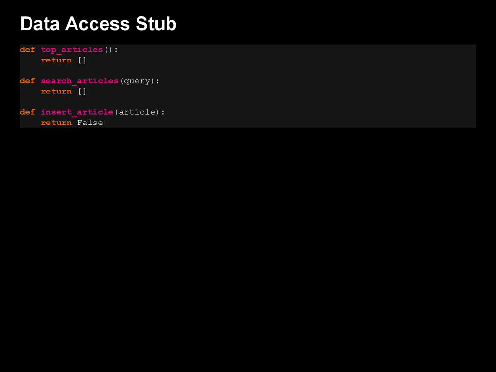 Data Access Stub def top_articles(): return [] ...