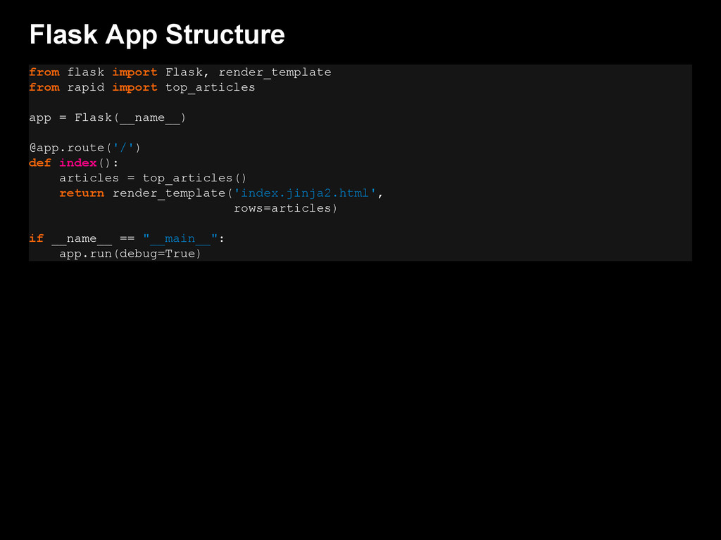 Flask App Structure from flask import Flask, re...