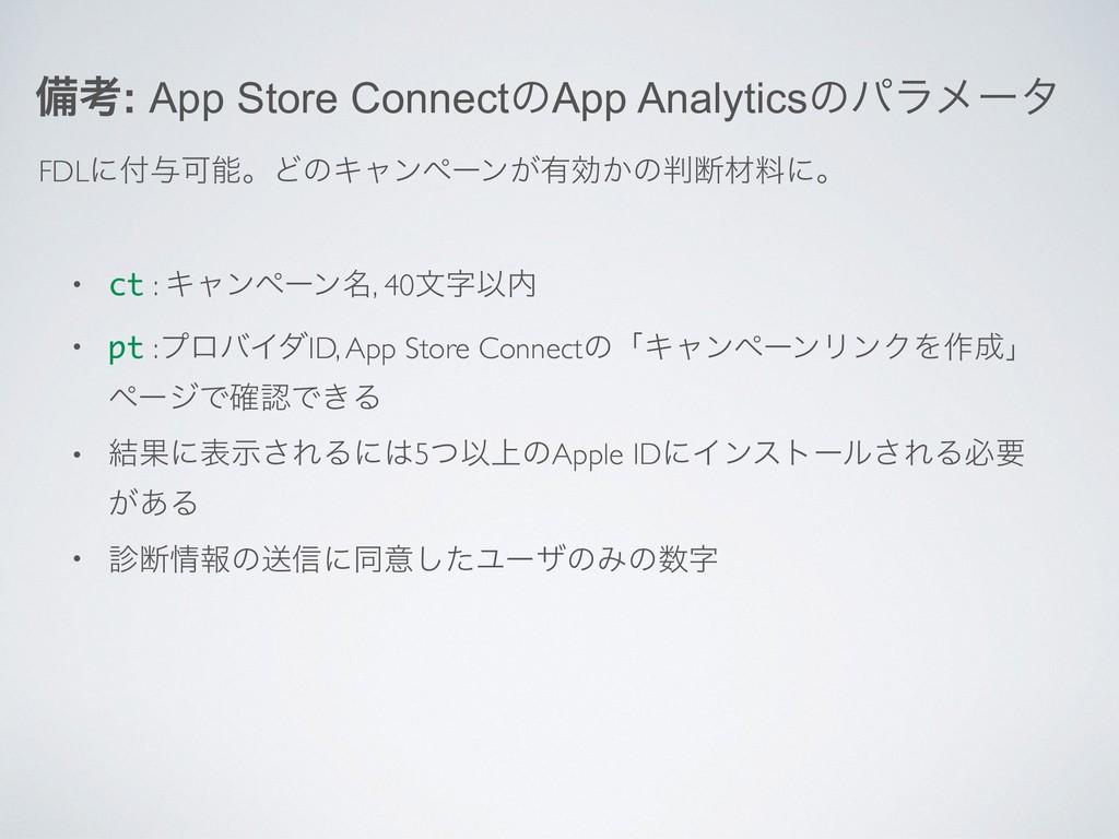 උߟ: App Store ConnectͷApp Analyticsͷύϥϝʔλ FDLʹ...