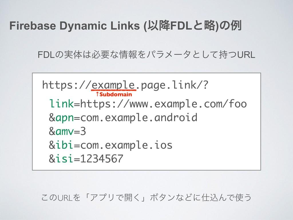 Firebase Dynamic Links (Ҏ߱FDLͱུ)ͷྫ FDLͷ࣮ମඞཁͳใ...