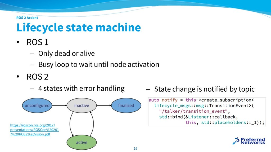 ROS 2 Ardent Lifecycle state machine • ROS 1 – ...