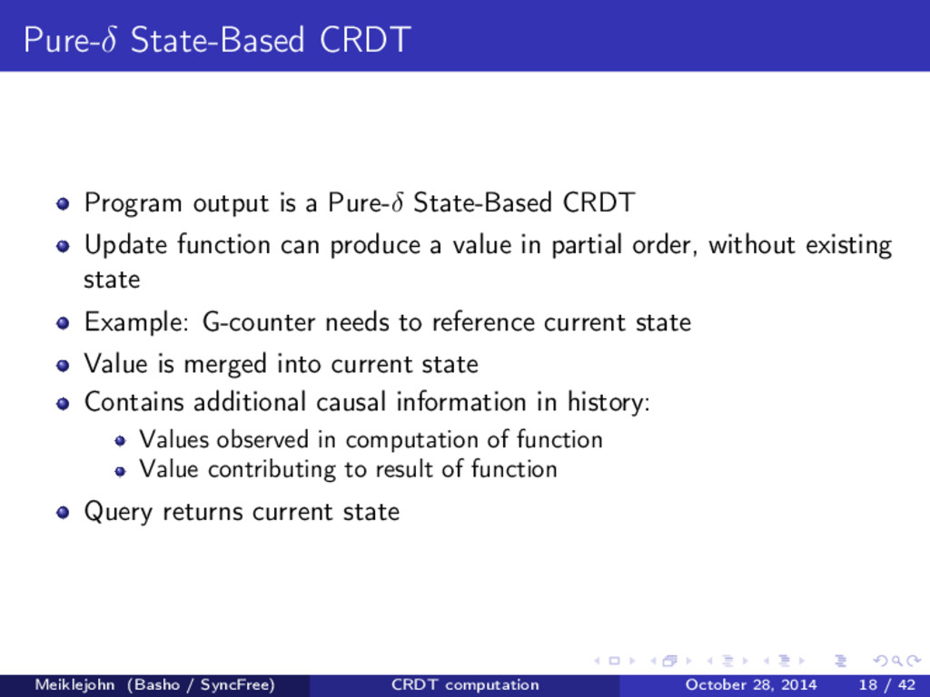 Pure-δ State-Based CRDT Program output is a Pur...