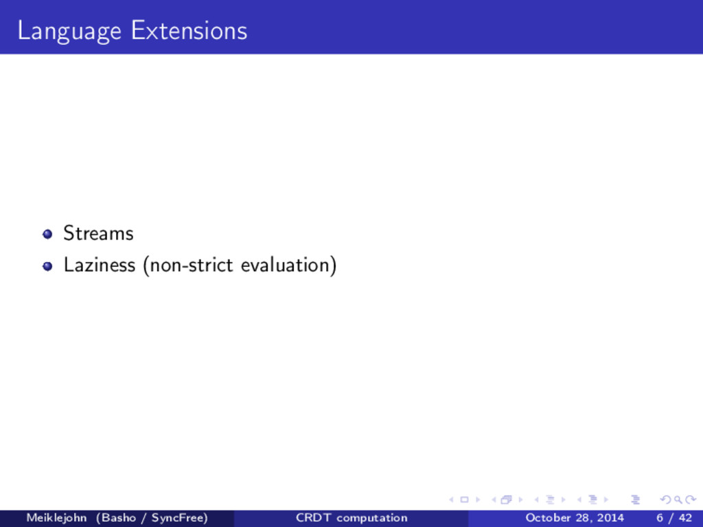 Language Extensions Streams Laziness (non-stric...