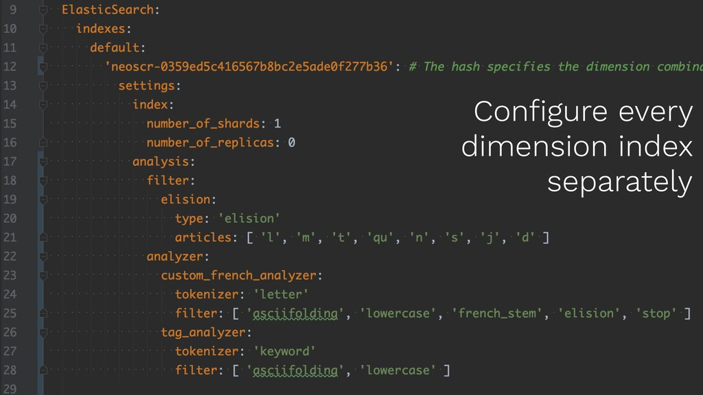 Configure every dimension index separately