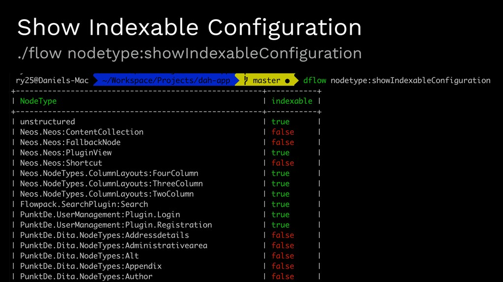 Show Indexable Configuration ./flow nodetype:show...