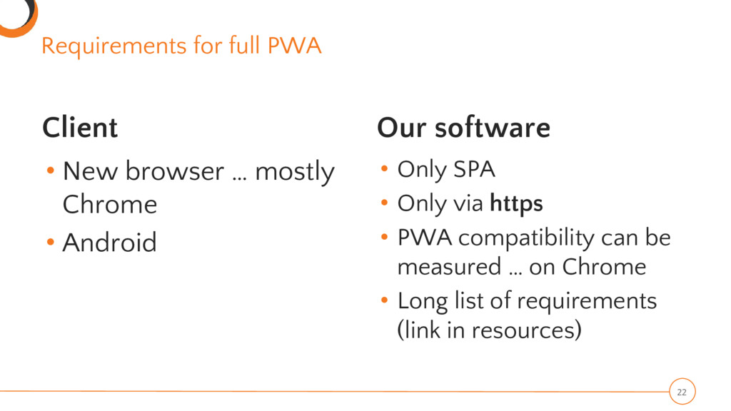 Requirements for full PWA Client • New browser ...