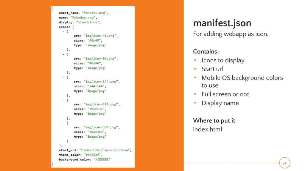manifest.json For adding webapp as icon. Contai...