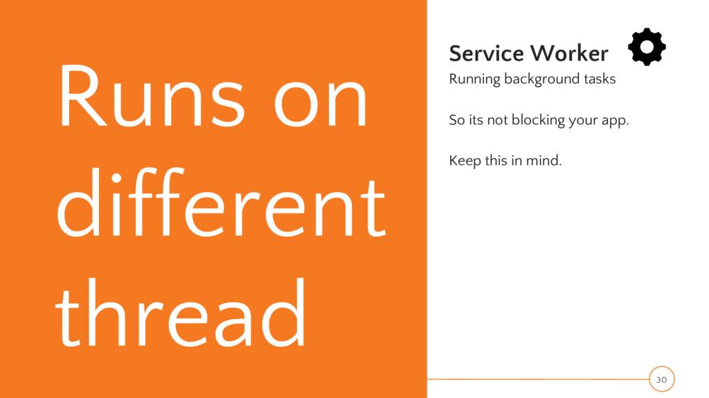 Runs on different thread Service Worker Running...