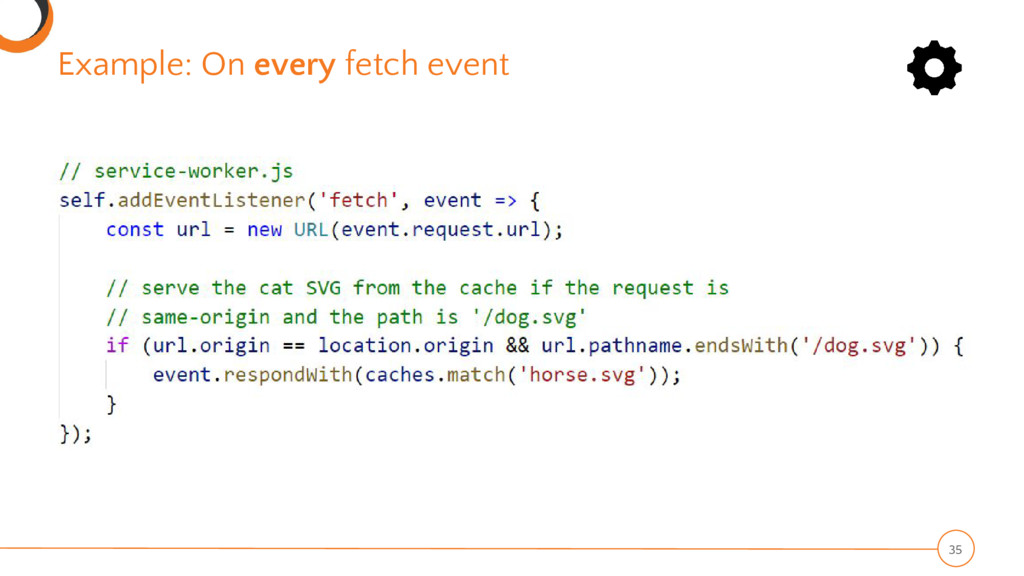 Example: On every fetch event 35