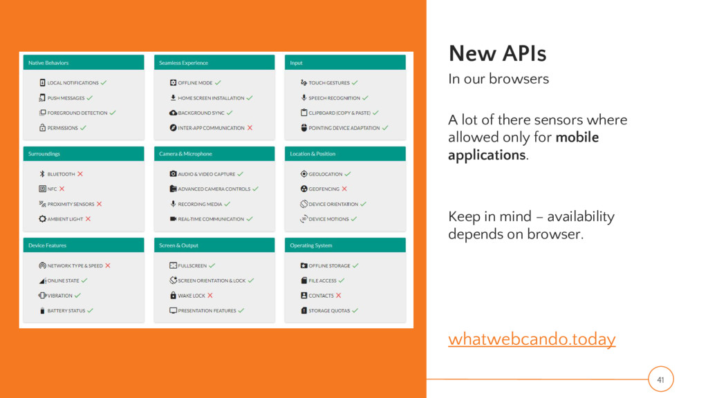 New APIs In our browsers A lot of there sensors...