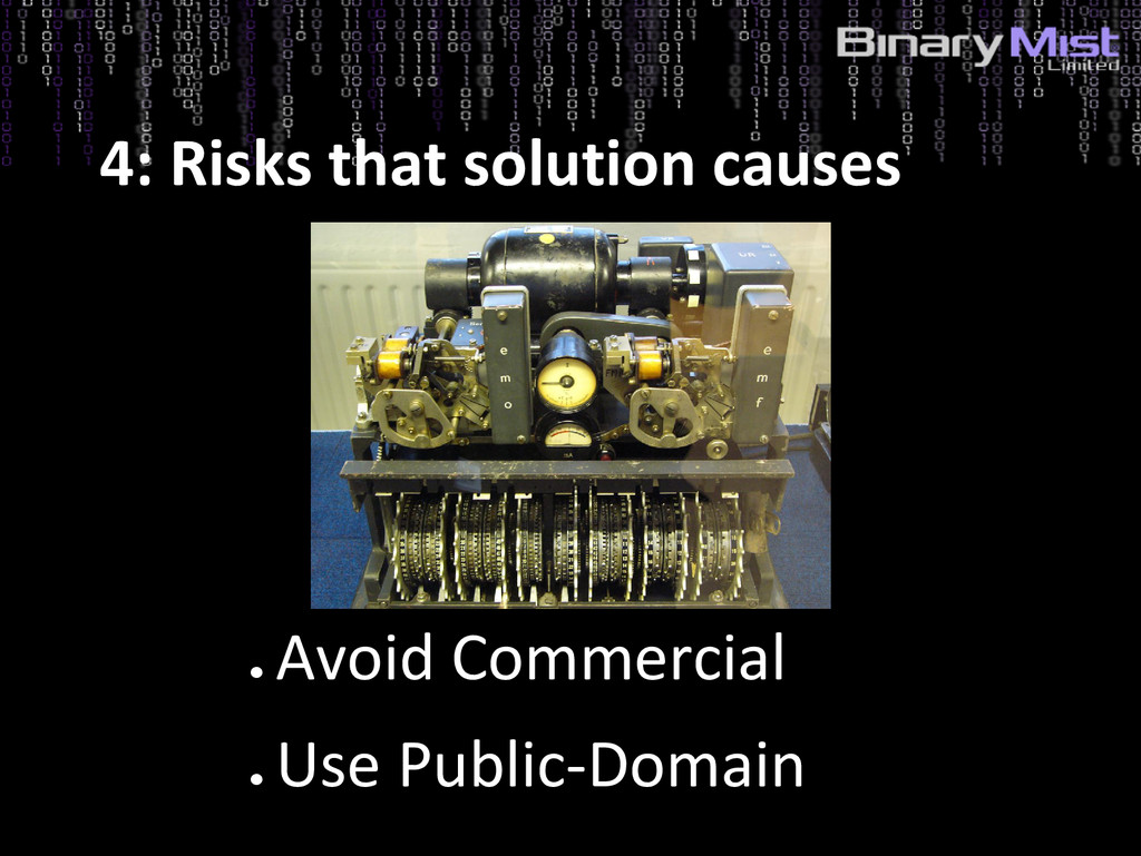 ● Avoid Commercial ● Use Public-Domain 4: Risks...