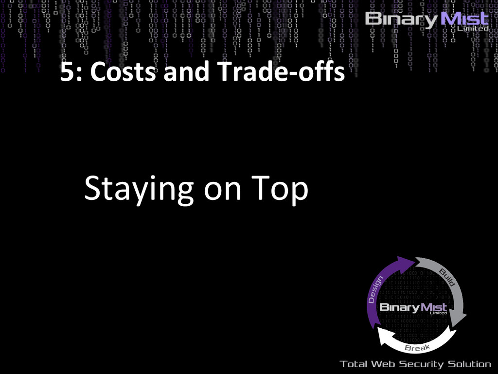 Staying on Top 5: Costs and Trade-offs