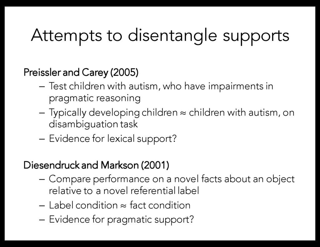 Attempts to disentangle supports Preissler and ...