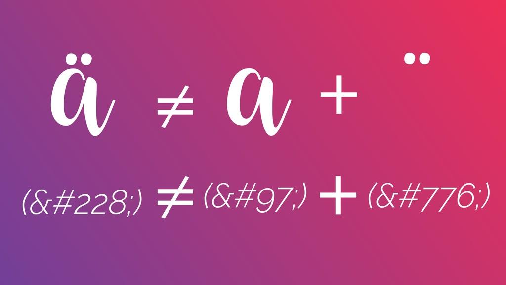 ä ¨ + a ≠ (ä) ≠ + (a) (̈)