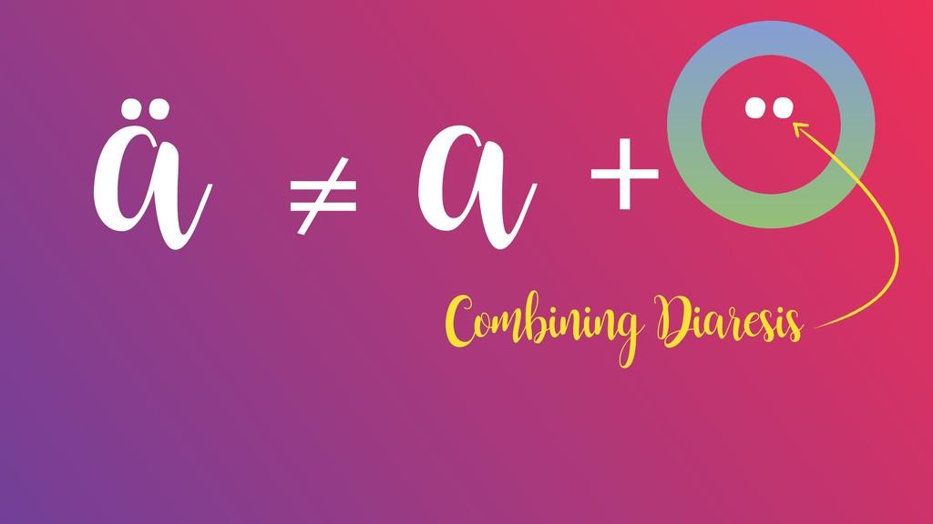 ä ¨ + a ≠ Combining Diaresis