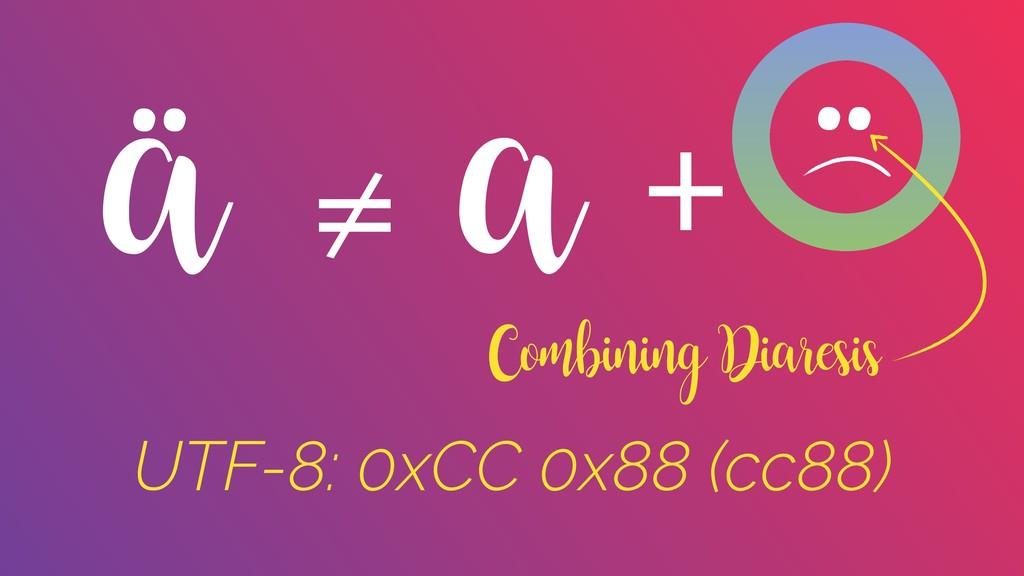 ä ¨ a Combining Diaresis + ≠ UTF-8: 0xCC 0x88 (...