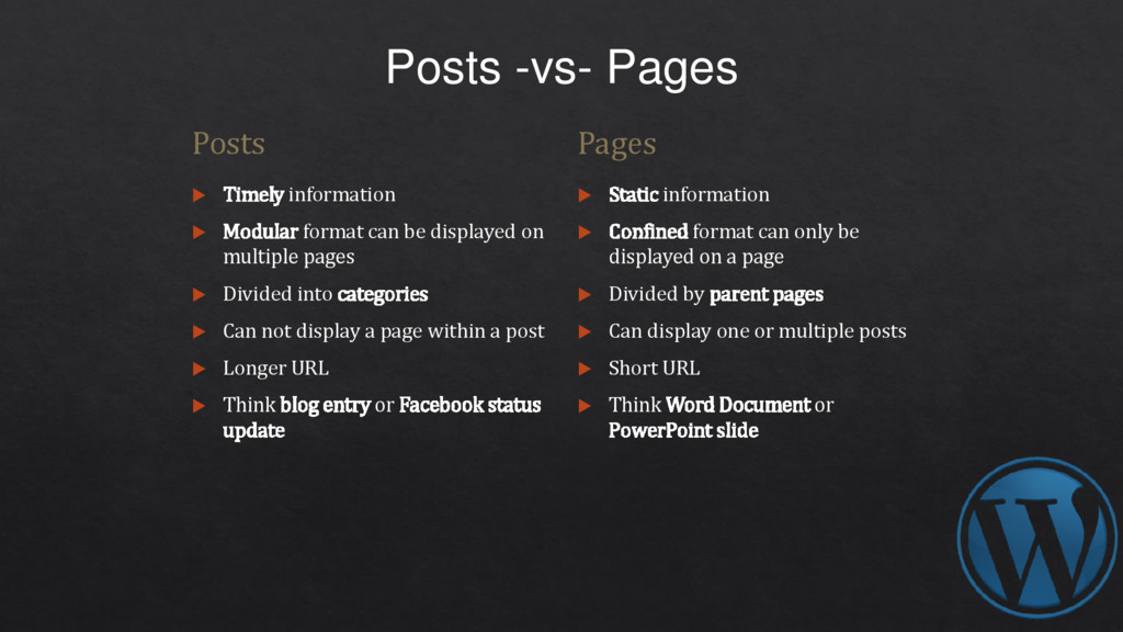 Posts -vs- Pages Posts  Timely information  M...