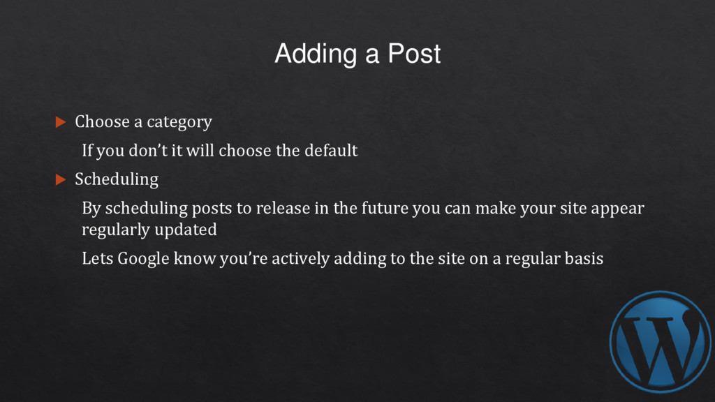 Adding a Post  Choose a category If you don't ...