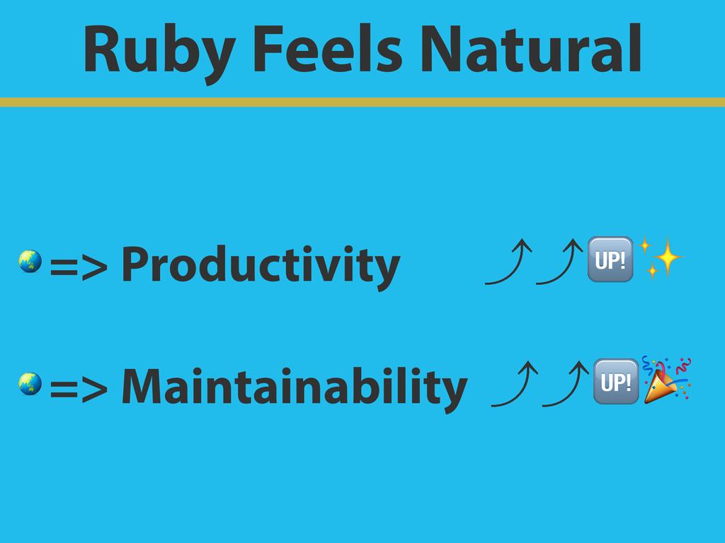 Ruby Feels Natural  => Productivity ɹ㽉㽉✨  => Ma...