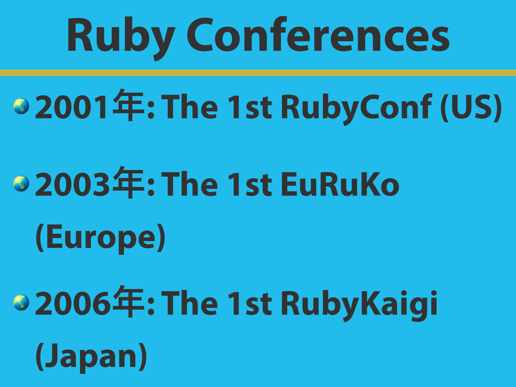 Ruby Conferences  2001: The 1st RubyConf (US) ...