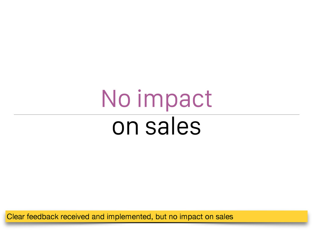 No impact on sales Clear feedback received and ...
