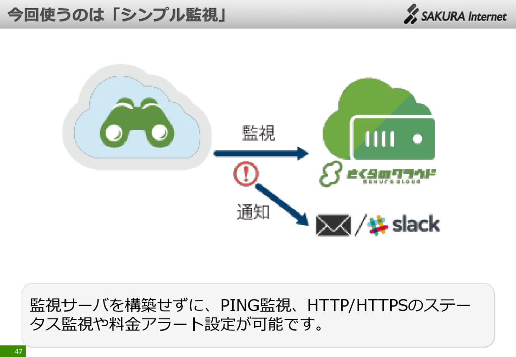 47 監視サーバを構築せずに、PING監視、HTTP/HTTPSのステー タス監視や料金アラー...