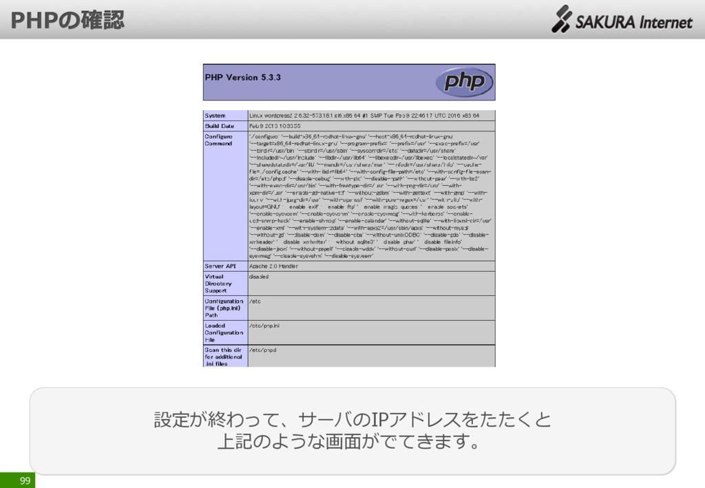 99 設定が終わって、サーバのIPアドレスをたたくと 上記のような画面がでてきます。