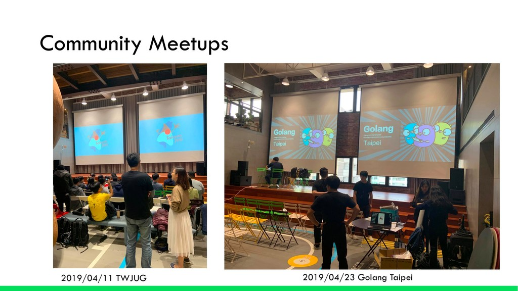 Community Meetups 2019/04/11 TWJUG 2019/04/23 G...