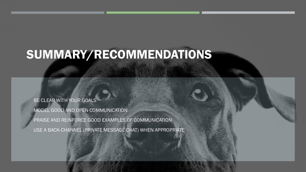 SUMMARY/RECOMMENDATIONS • BE CLEAR WITH YOUR GO...