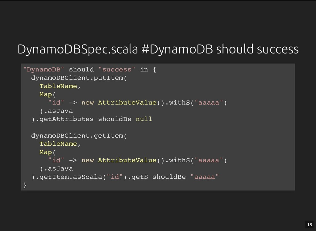 DynamoDBSpec.scala #DynamoDB should success Dyn...