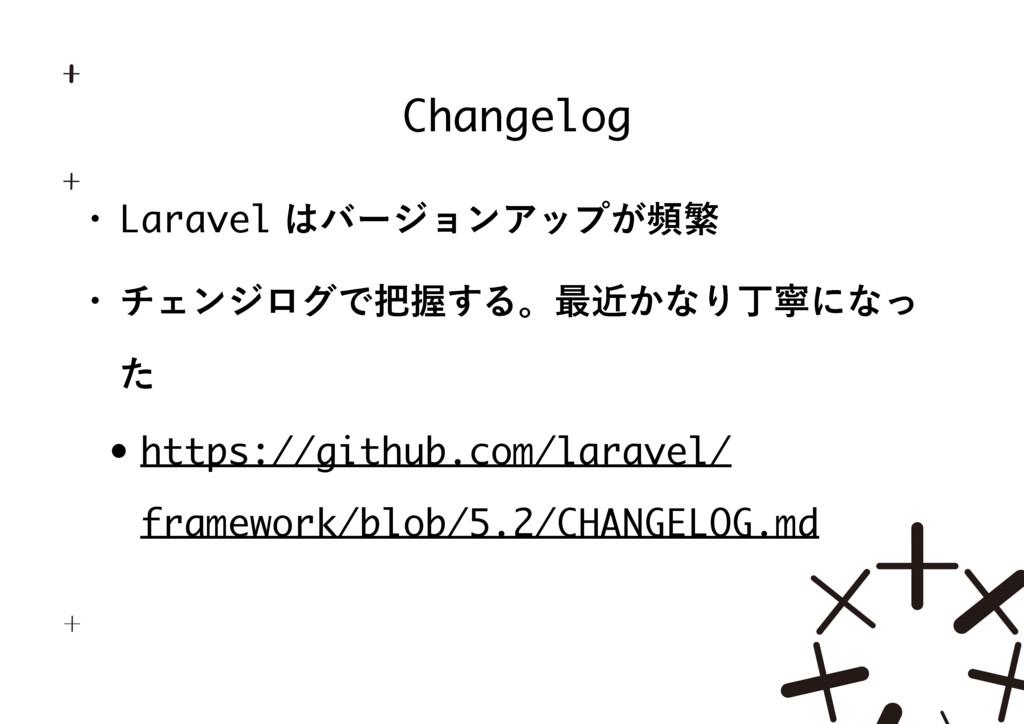 Changelog w LaravelόʔδϣϯΞοϓ͕සൟ w νΣϯδϩάͰѲ͢Δ...