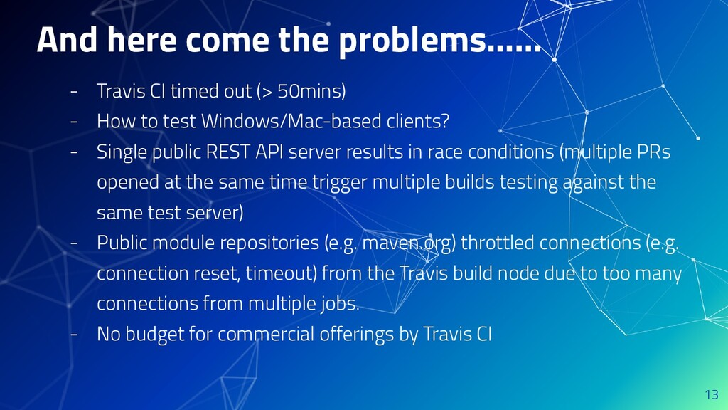 And here come the problems…... - Travis CI time...