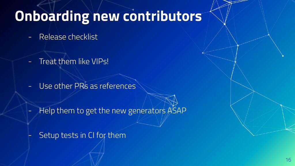 Onboarding new contributors - Release checklist...